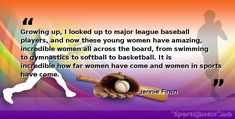 daily Motivational, Inspirational and positive sports quotes said by the popular athletes Baseball Motivational Quotes, Jennie Finch, Bob Feller, Cy Young, New Opportunities, Baseball Players, News Games, Gymnastics, Growing Up