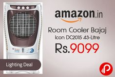 Amazon Lightning Deal is offering Bajaj Icon DC2015 43-Litre Room Cooler Just at Rs.9099. Unique iconic design and styling with optional color trim, Large water tank capacity for longer cooling with continuous water supply system, Powerful airflow with air delivery of 4000 cubic meters per hour (peak) and 3000 cubic meters per hour (average), Large cooling capacity of 600 sqft with powerful ...  http://www.paisebachaoindia.com/room-cooler-bajaj-icon-dc2015-43-litre-just-at-rs-9099-amazon/