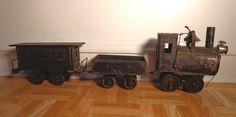 Antique Folk Art Tramp Art Primitive Toy Train Tin Cans Cigar Boxes Key Wind   #TrampArtFolkArt #UnknownAmerican