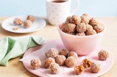 For a bite-size snack try these date, apricot and chia bliss balls. Protein Snacks, Protein Ball, Raw Food Recipes, Sweet Recipes, Snack Recipes, Cooking Recipes, Yummy Snacks, Dessert Recipes, Bite Size Snacks