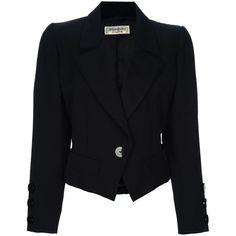 Yves Saint Laurent Vintage Riding Jacket ($370) ❤ liked on Polyvore featuring outerwear, jackets, blazers, coats, black, long sleeve blazer, yves saint laurent, vintage jacket, yves saint laurent jacket and wool jacket