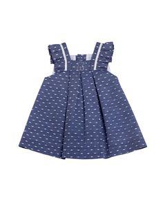 Vestido de bebé niña Tous Baby con volante frontal en azul