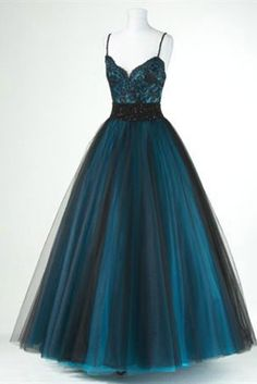 Black tulle blue satins lace V-neck long dresses,cute homecoming dresses