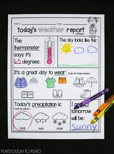 Weather Activities kids will love! Make a tornado in a jar, weather clip cards, weather sheets for morning circle time to track the weather- so many cute and engaging ideas to help preschool, kindergarten and first grade kids!