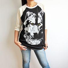 Wolf Baseball T Shirt  Raglan 3/4 Long Sleeve T-Shirt Size S #Unbranded #GraphicTee