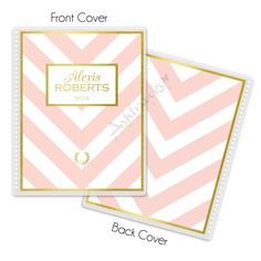Style #43:  Laminated Personalized Pink & White Chevron Stripe with Gold Trim Cover for Erin Condren Planner or Notebook