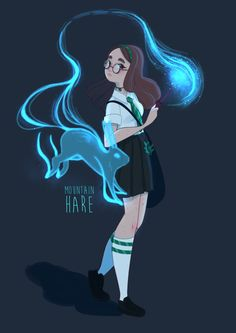 This is literally everything I am. I have long brown hair and glasses, I'm Slytherin and my patronus is a mountain hare. Harry Potter Artwork, Images Harry Potter, Harry Potter Drawings, Harry Potter Anime, Harry Potter Fan Art, Harry Potter Fandom, Harry Potter Characters, Hogwarts, Slytherin