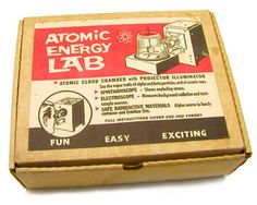 """Atomic Energy Lab toy packaging, 1951. """"On the market for only one year, this children's 'science lab' exposed kids to isotope U-238."""""""