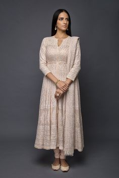 Chikankari Suits and Anarkalis Kurti Neck Designs, Kurti Designs Party Wear, Indian Gowns Dresses, Pakistani Dresses, Indian Attire, Indian Outfits, Indian Designer Suits, Indian Designers, Indian Party Wear