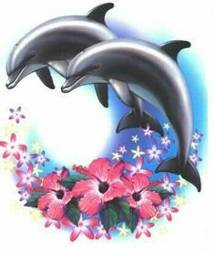 A cross stitch pattern of Dolphins and Flowers. Dolphin Drawing, Dolphin Art, Body Art Tattoos, Cool Tattoos, Tatoos, Orcas, Dolphin Images, Dolphins Tattoo, Bottlenose Dolphin