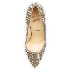 Christian Louboutin Pigalle Spikes Red Sole Pump, Beige/Gold found on Polyvore