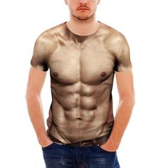 Muscle Print Men's T Shirt Designer Casual Tee Short Sleeve