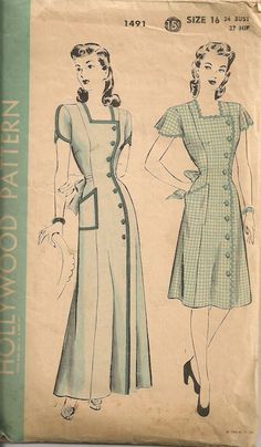 Vintage 1940's Dress Pattern Hollywood 1491 by SewPatterns on Etsy