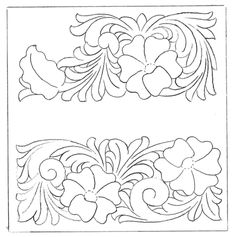 Free Leathercraft Pattern for Arizona/Porter Style Carving by Rocky Mi – Elktracks Studio Leather Carving, Leather Art, Leather Gifts, Leather Tooling, Custom Leather, Wood Carving Patterns, Carving Designs, Craft Patterns, Flower Patterns