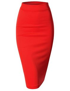 Womens Scuba Slim Fit Stretchy Pencil Midi Skirt AWBMS057_Red XXLarge >>> Be sure to check out this awesome product.