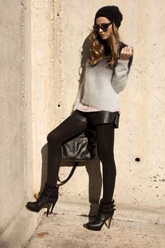 Leather shorts and tights