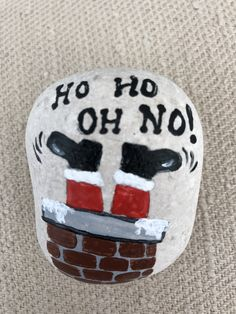 Painted Rock: Ho Ho Oh No! Painted Rock: Ho Ho Oh No! The Effective Pictures We Offer You About DIY Christmas cheap A quality picture can tell you many things. You can find the most b Pebble Painting, Pebble Art, Stone Painting, Diy Painting, Stone Crafts, Rock Crafts, Xmas Crafts, Arts And Crafts, Rock Painting Patterns