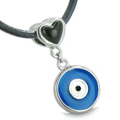 Amulet Evil Eye Reversible Double Lucky Hearts Yin Yang White Cats Eye Simulated Onyx Pendant Necklace