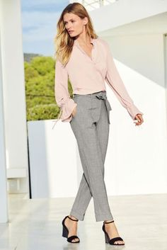 Buy Grey Belted High Waist Taper Trousers from the Next UK online shop