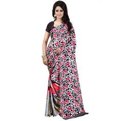 Graceful Red Color Premium Georgette Printed Saree at just Rs.499/- on www.vendorvilla.com. Cash on Delivery, Easy Returns, Lowest Price.