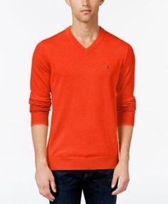 c0248038 TOMMY HILFIGER Tommy Hilfiger Men'S Signature Solid V-Neck Sweater. # tommyhilfiger #cloth