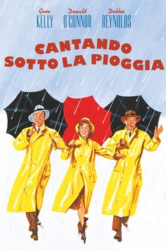 """Singin' In The Rain directed by Stanley Donen and Gene Kelly, starring Gene Kelly, Donald O'Connor and Debbie Reynolds. """"A silent film production company and cast make a difficult transition to sound. Gene Kelly, Old Movies, Vintage Movies, Great Movies, Singin In The Rain, Dancing In The Rain, Donald O'connor, Film Musical, Films Cinema"""