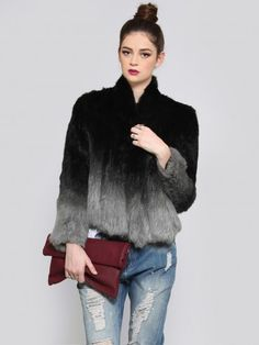 Super luxe, gray ombre rabbit fur jacket featuring an open fit that's slightly longer at the front