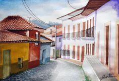 Calle Fortin por Hector Cortes - Pintor y fotografo hondureño Acuarelas (watercolor) de Tegucigalpa y Yuscaran, Honduras