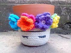 Funda tejida a crochet para Maceta - Frida Kahlo - YouTube