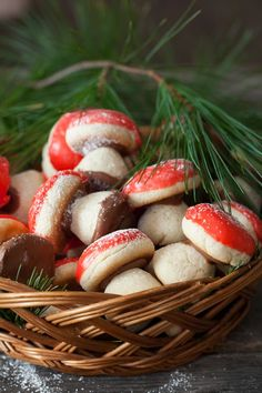 """Looking for Fast & Easy Christmas Recipes, Dessert Recipes! Recipechart has over free recipes for you to browse. Find more recipes like Russian Mushroom Cookies - """"Gribochky"""". Christmas Treats, Christmas Baking, Russian Christmas Food, Biscuits, Russian Recipes, Russian Foods, Marzipan, Holiday Cookies, Cookie Recipes"""