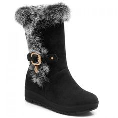 Casual Metallic Buckle and Suede Design Women's Mid-Calf Boots #CLICK! #clothing, #shoes, #jewelry, #women, #men, #hats
