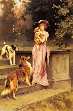 Afbeelding van https://www.toperfect.com/pic/Oil%20Painting%20Masterpieces%20on%20Canvas/Wardle%20Arthur_England_1864-1949/5-Afternoon-Promenade-Arthur-Wardle-dog.jpg.
