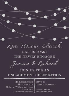 Sophisticated Engagement Invitation by PurpleSketchDesigns on Etsy, $10.00