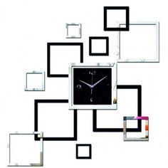 Living room new wall clock diy clocks home decoration watch horloge murale quartz acrylic mirror stickers Mirror Wall Clock, Black Wall Mirror, Diy Mirror, Wall Clocks, Hanging Clock, Diy Hanging, Mirror Tiles, Diy Clock, Clock Decor