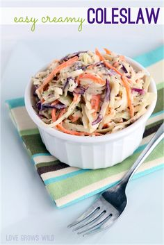 Easy Creamy Coleslaw recipe perfect for Summer parties and cookouts! The best coleslaw I've ever made! via Lovegrowswild.com #recipe
