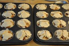makes 24 mini apple pies.Cut 8 apples in sm bits Mix apples w: 12 tbs of flour 1 1/2c of sugar 4 heaping tsp of cinnamon 1/4-1/2 tsp of nutmeg. 4 tbs chilled butter cut into 24 equal portions, 2 boxes pillsbury pie crusts (four chilled NOT frozen crusts.Unroll your first pie crust and cut circles using wide mouth mason jar ring Line muffin tin w crust, fill w apple filling, top w butter. Use dough leftovers to make scrappy top crust. Brush w melted butter Bake 400 x 18-22 mins.