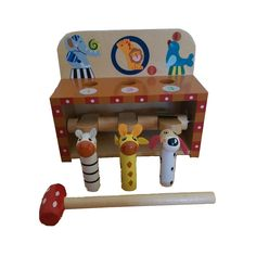 Hit the lever with the wooden hammer and the animals jump up! 3 wooden animals and hammer included. Wooden Animals, Own Home, Toys, Fun, Activity Toys, Games, Toy, Lol, Funny