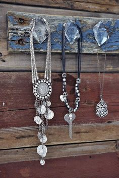 jewellery hanger, old wood + acrylic knobs as hooks