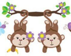 JUNGLE MONKEY Wallpaper BORDER Wall Art Decals Baby Girl Nursery Jungle Kids Room Decor Childrens Safari Playroom Purple Butterfly Stickers
