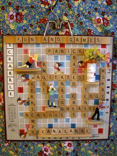 fun scrabble board use maybe oversize birthday card? Art From Recycled Materials, Recycled Art, Repurposed, Board Game Pieces, Game Boards, Kids Church Decor, Scrabble Tile Crafts, Scrabble Board, Vintage Board Games