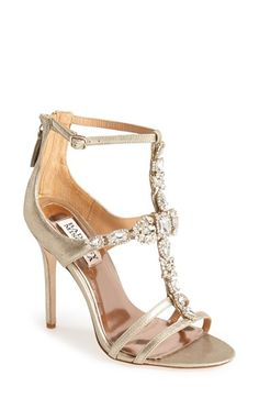Badgley Mischka Jeweled ankle strap sandals