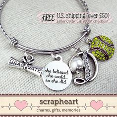 SOFTBALL Bracelet SENIOR Gift for Softball by ScrapheartGifts