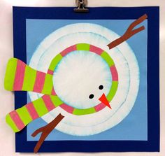 Art with Ms. Gram: Bird's-Eye-View Snowmen (4th)  Brilliant craft & great directions! I did this with a group of pre-schoolers and parents along with the book Sneezy the Snowman. Everyone had fun and the kids made awesome snowmen!