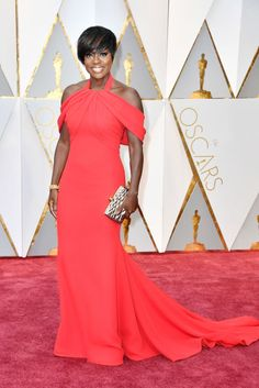 Viola Davis was dressed to win in a screen siren red Armani Prive gown complete with a high neckline and full train.