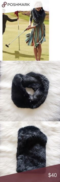 Anthropologie NWOT Faux-fur Cowl Scarf Soft and stylish! Dark grey color. Looks luxurioury! Anthropologie Accessories Scarves & Wraps