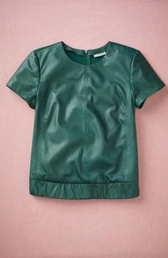 Great color! Emerald Leather Front Elastic Waist Top