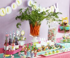 Easter party decoration - love the carrot centerpiece
