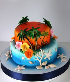 Beach cake. Someone please make this for me for my next birthday, please!! Yes, I am begging!