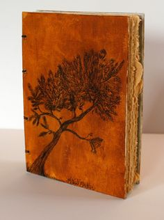 Tree book. The raw edges of the golden paper sets this off beautifully.