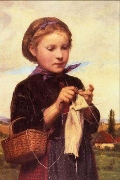 Albert Anker (1831-1910) Knitting girl